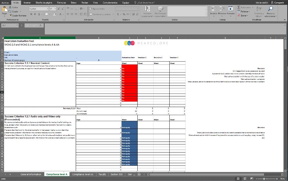Reporte de accesibilidad realizado por un experto en formato XLSX